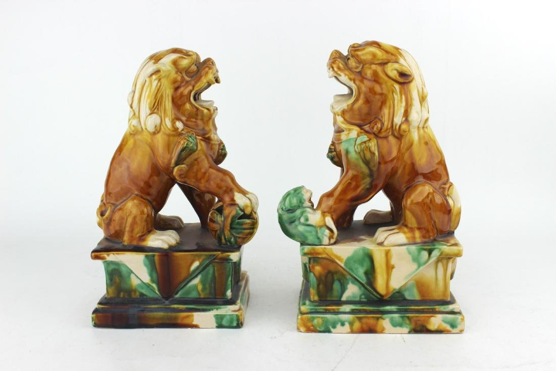 PAIR OF CHINESE SAN-CAI FOO DOGS