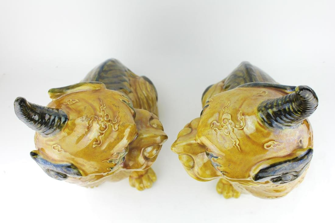 PAIR OF CHINESE YELLOW GLAZED MYTHICAL BEASTS - 6