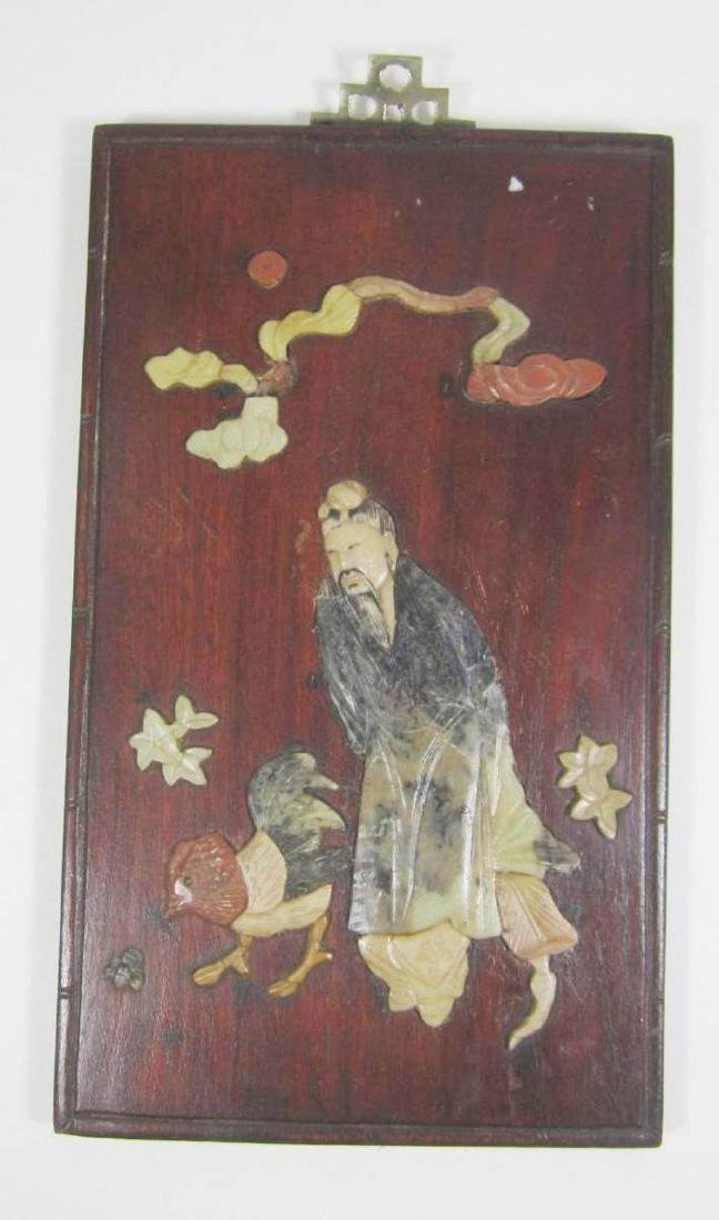 ANTIQUE CHINESE SOAPSTONE ART ATTACHED TO WOODEN