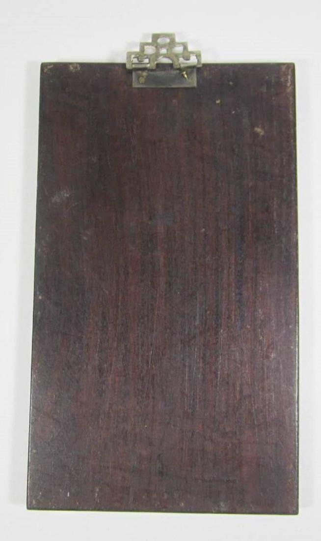 ANTIQUE CHINESE SOAPSTONE ART ATTACHED TO WOODEN - 2