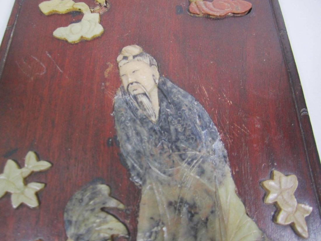 ANTIQUE CHINESE SOAPSTONE ART ATTACHED TO WOODEN - 4