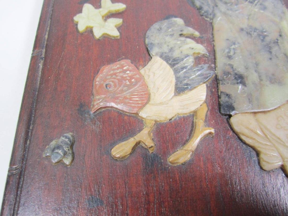 ANTIQUE CHINESE SOAPSTONE ART ATTACHED TO WOODEN - 5