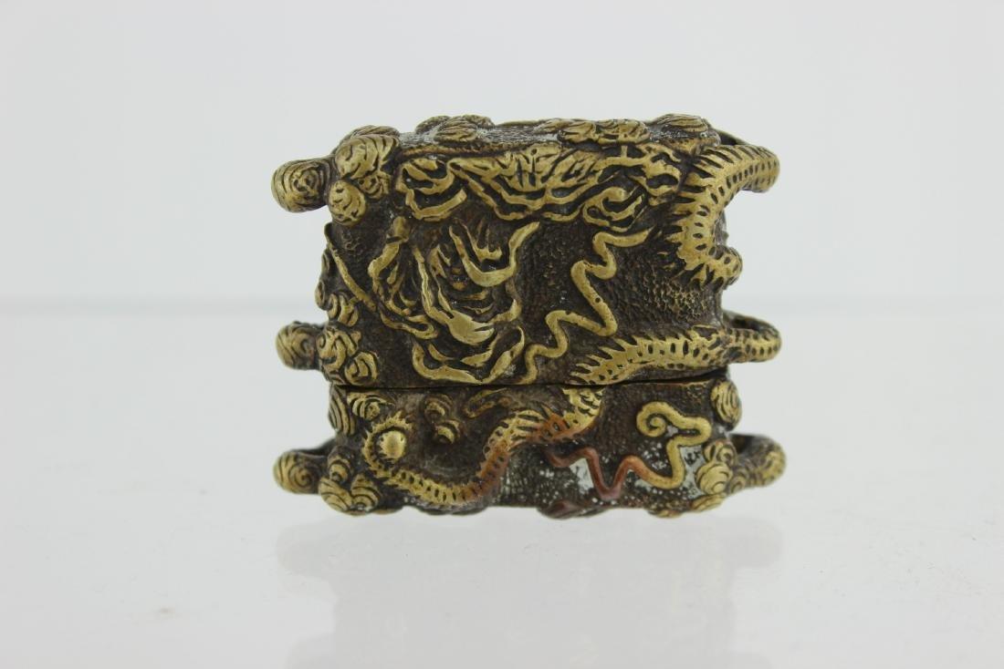 CHINESE BRONZE DRAGON BOX - 3