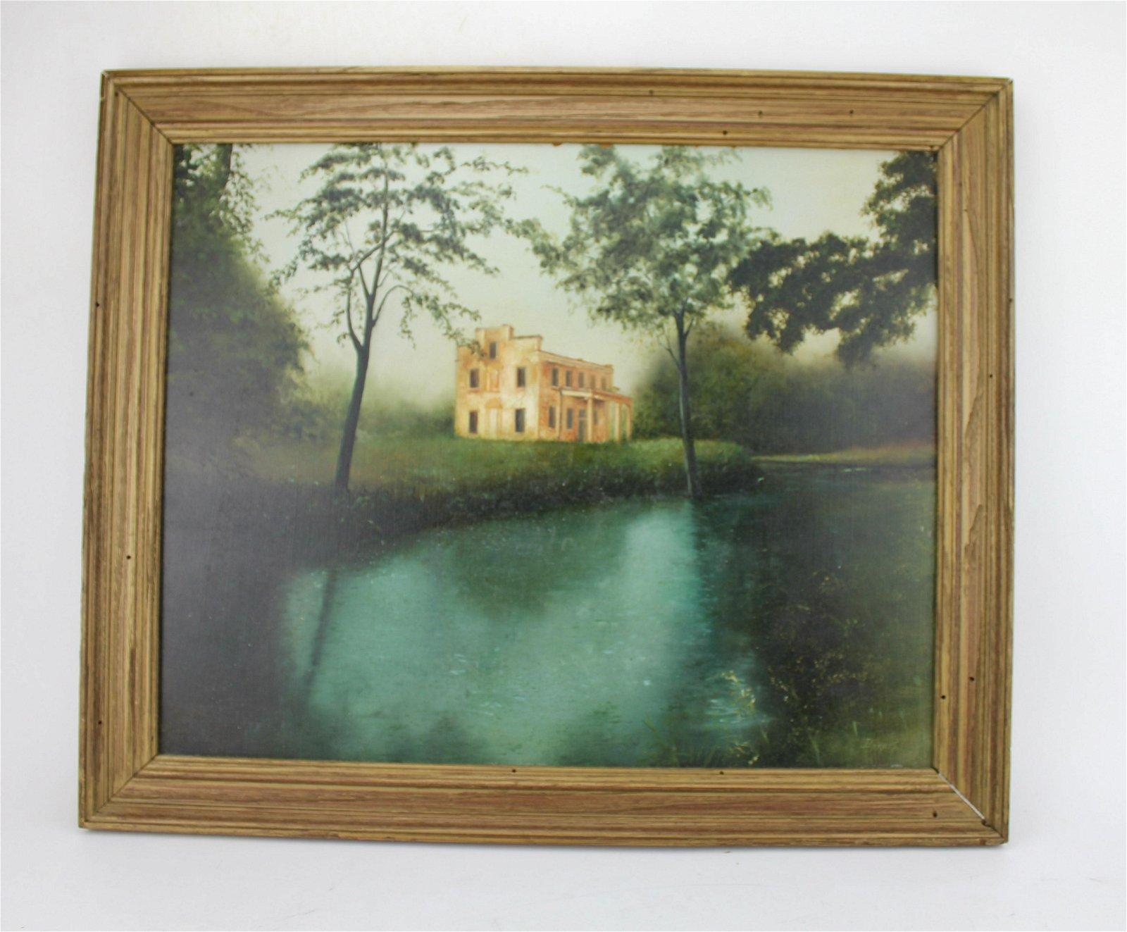 "BARNES, ""HOUSE IN A LANDSCAPE"". OIL ON MASONITE"