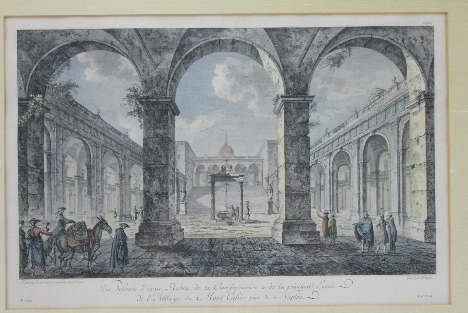 18TH C ENGRAVING, A VIEW OF THE ABBEY AT MONTE CAS