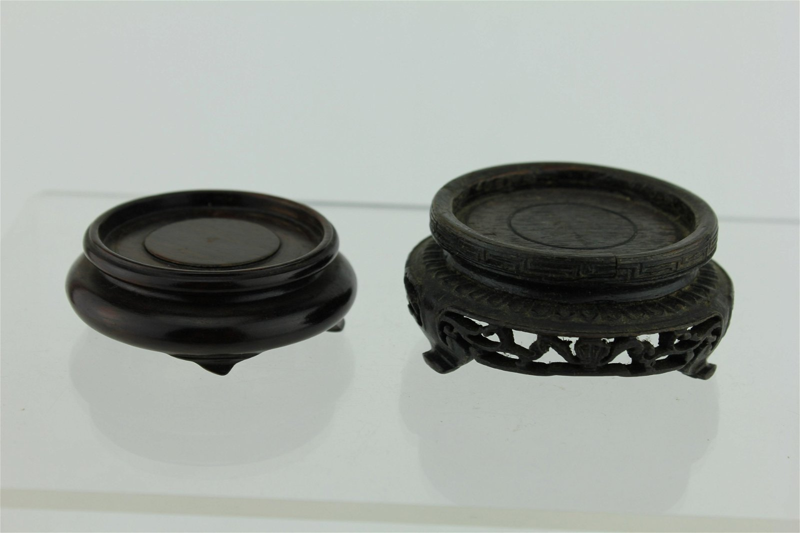 TWO CHINESE CARVED WOOD STANDS