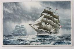 V MAYS DANMARK AND EAGLE SHIPS WATERCOLOR