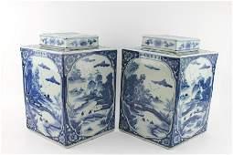 TWO CHINESE BLUE/WHITE DIAMOND LIDDED EWERS
