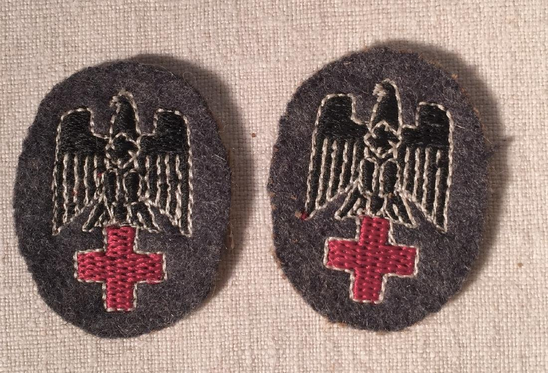 Pair German WWII Nazi Medic Hat Devices