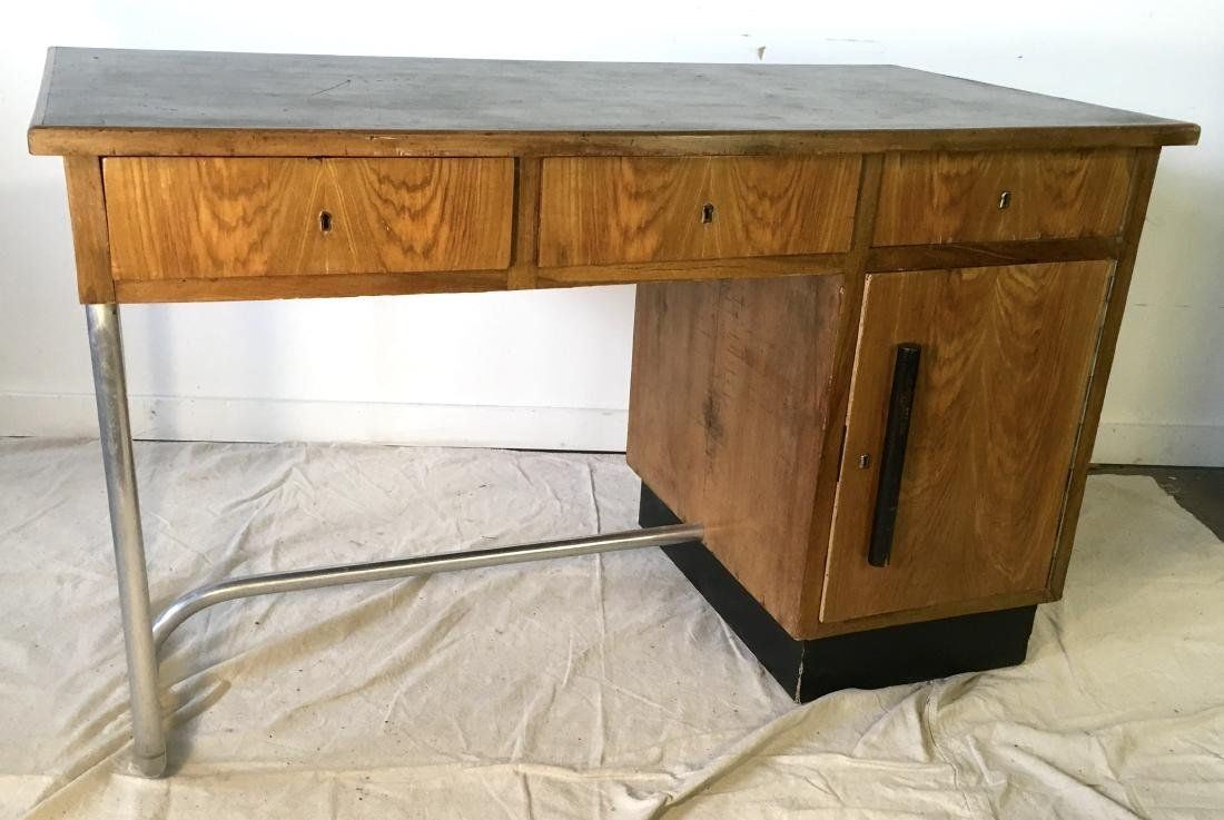 Modernist Italian Desk with Leather Top