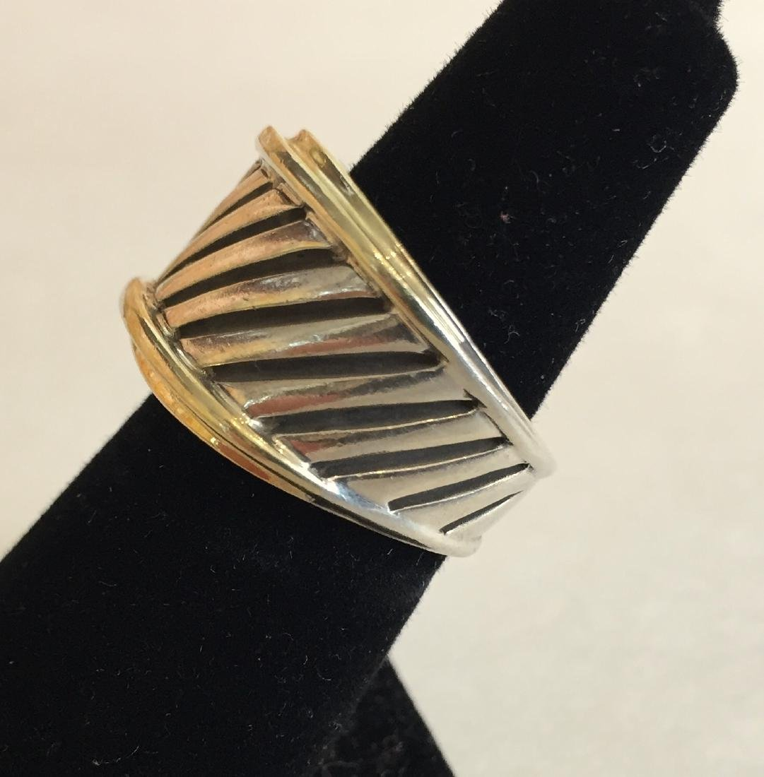 Authentic David Yurman 14k Gold and Sterling Cable Ring - 2