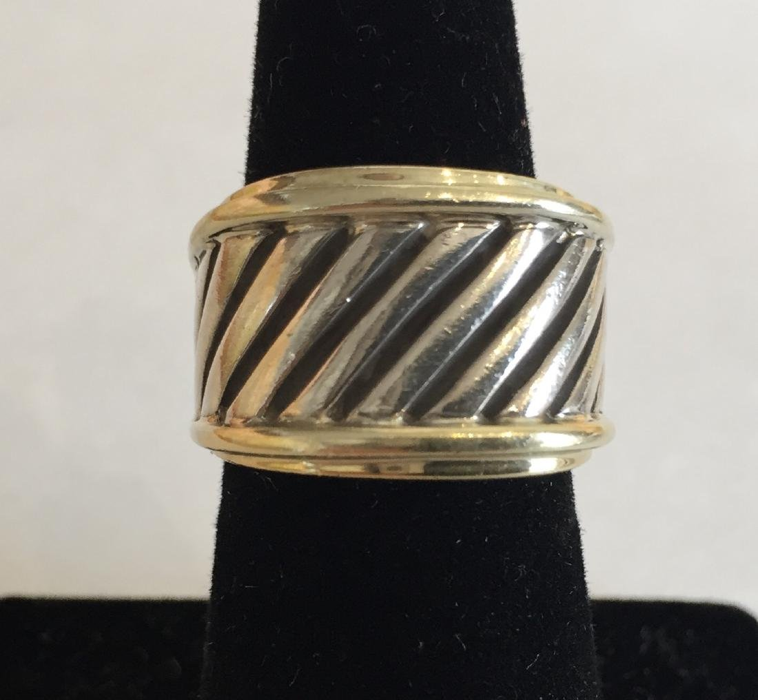 Authentic David Yurman 14k Gold and Sterling Cable Ring - 3