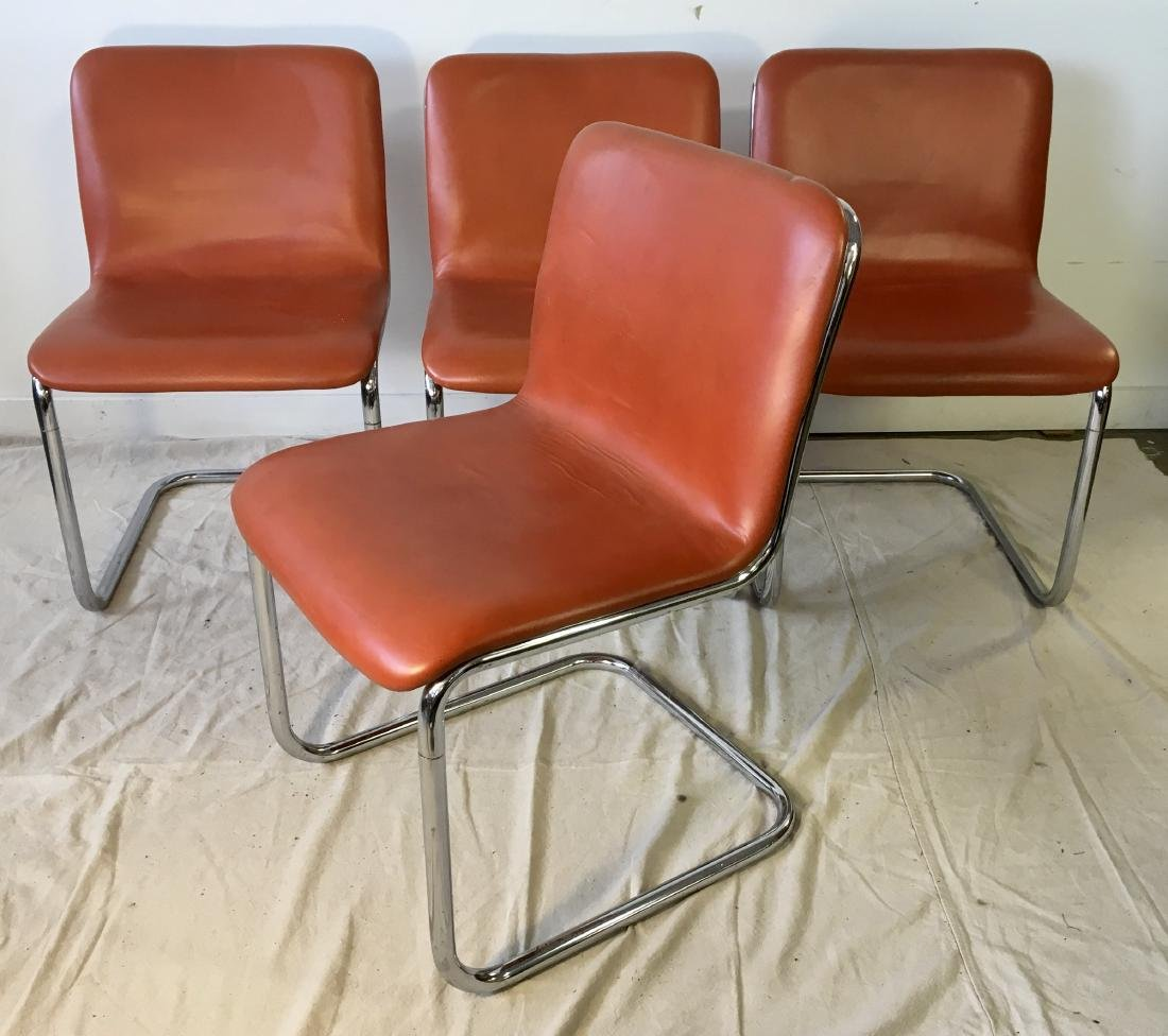 Set of Four Harvey Probber Chrome Chairs