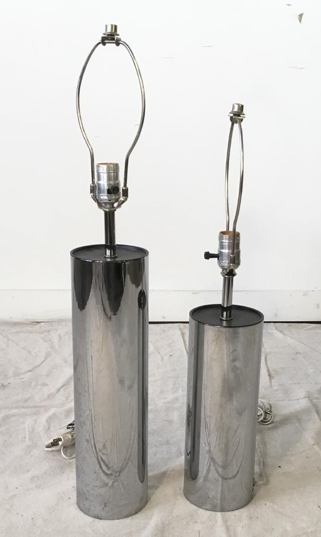 Two Chrome Cylinder Lamps