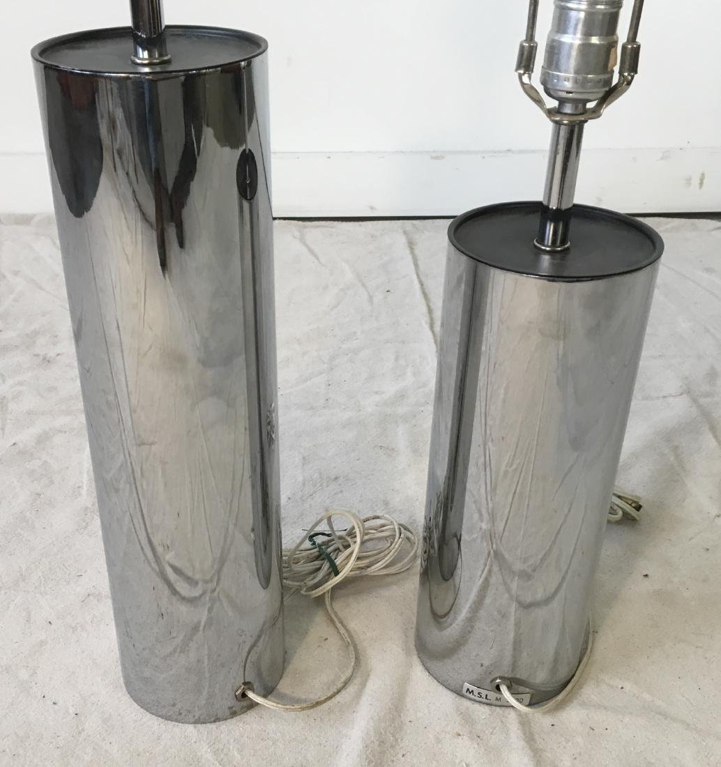 Two Chrome Cylinder Lamps - 4