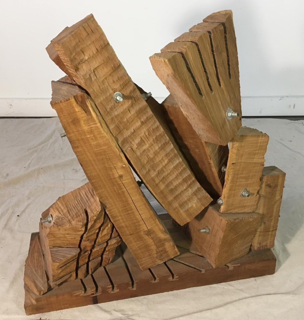 Brutalist Wooden Sculpture by Leonard Cave - 4