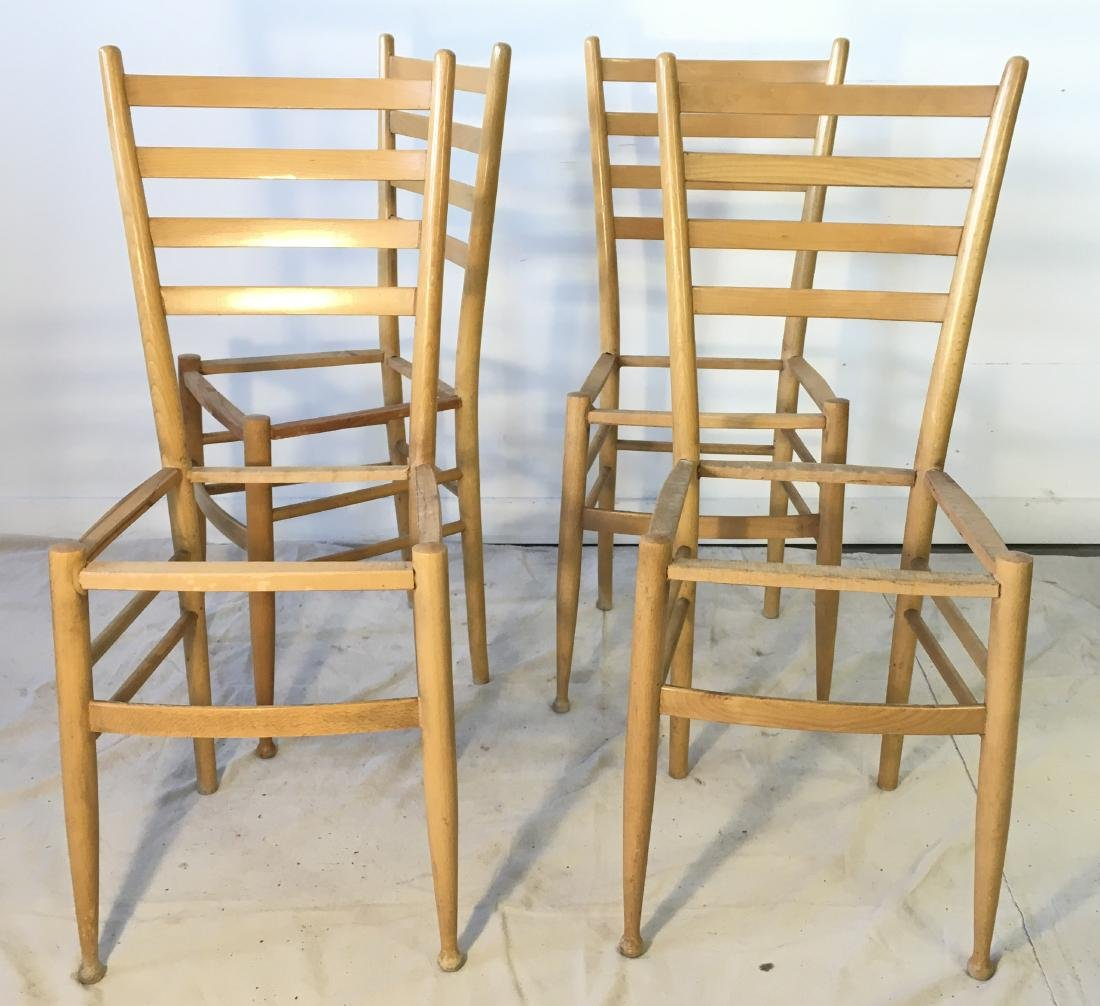 Set of Four Gio Ponti Style Ladder Back Chair Frames