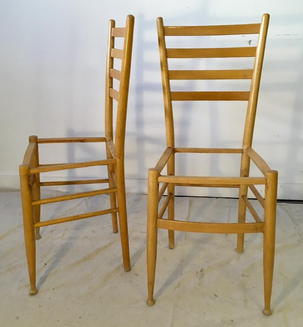 Set of Four Gio Ponti Style Ladder Back Chair Frames - 2