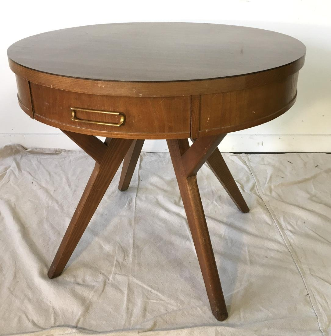 Mid Century Drum Table with Drawer