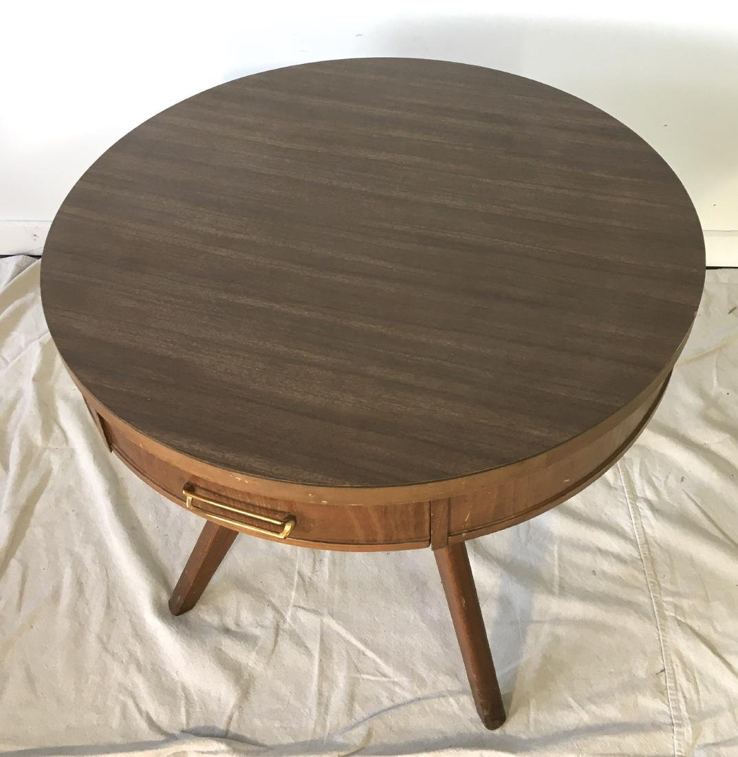 Mid Century Drum Table with Drawer - 2