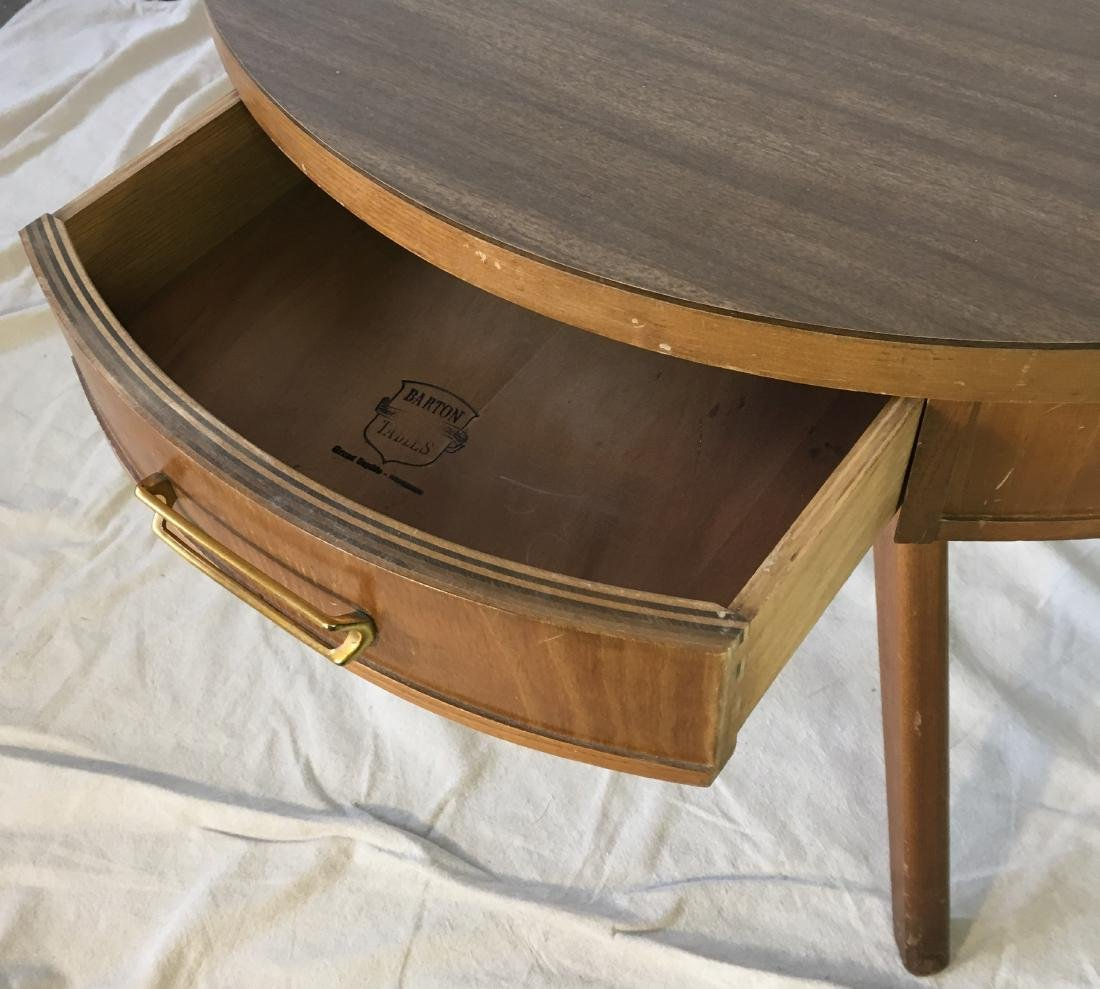Mid Century Drum Table with Drawer - 3