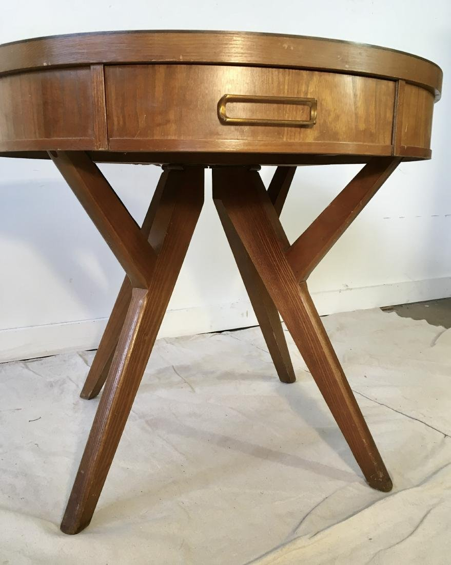 Mid Century Drum Table with Drawer - 4