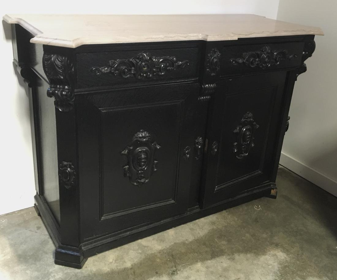 Ebonized Oak Marble Top Server