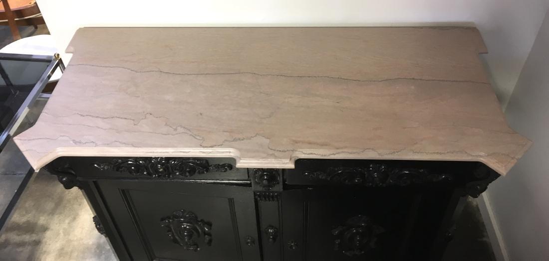 Ebonized Oak Marble Top Server - 2