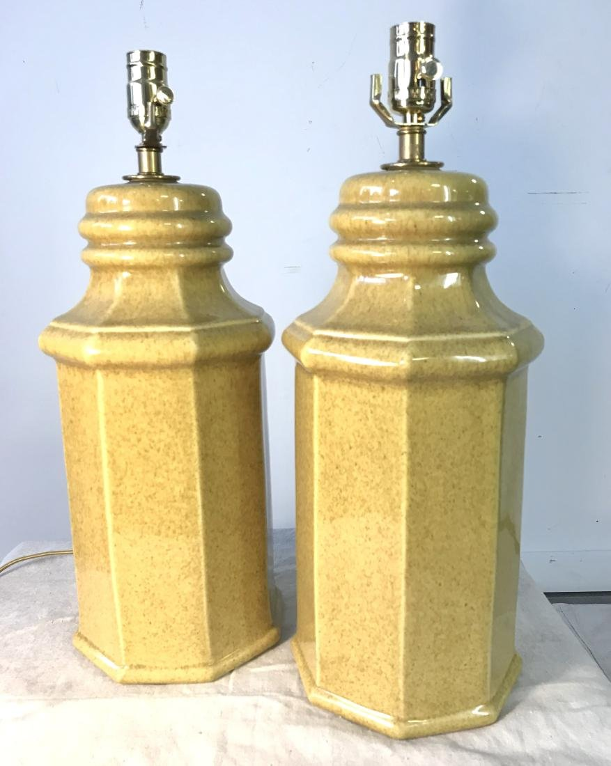 Pair Octagonal Pottery Lamps in Ochre