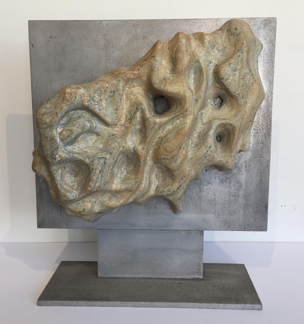 Riverstone Sculpture on Steel Dated 1970