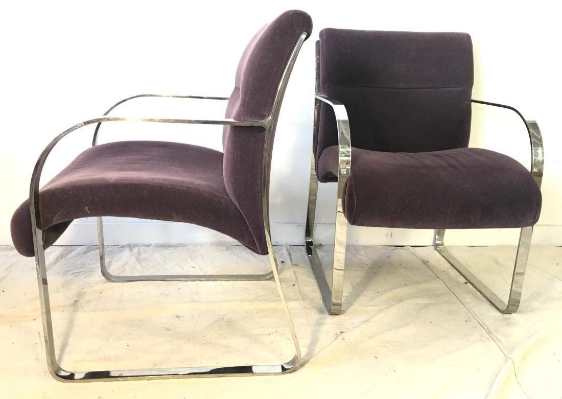 Pair Brueton Chrome Chairs in Mohair