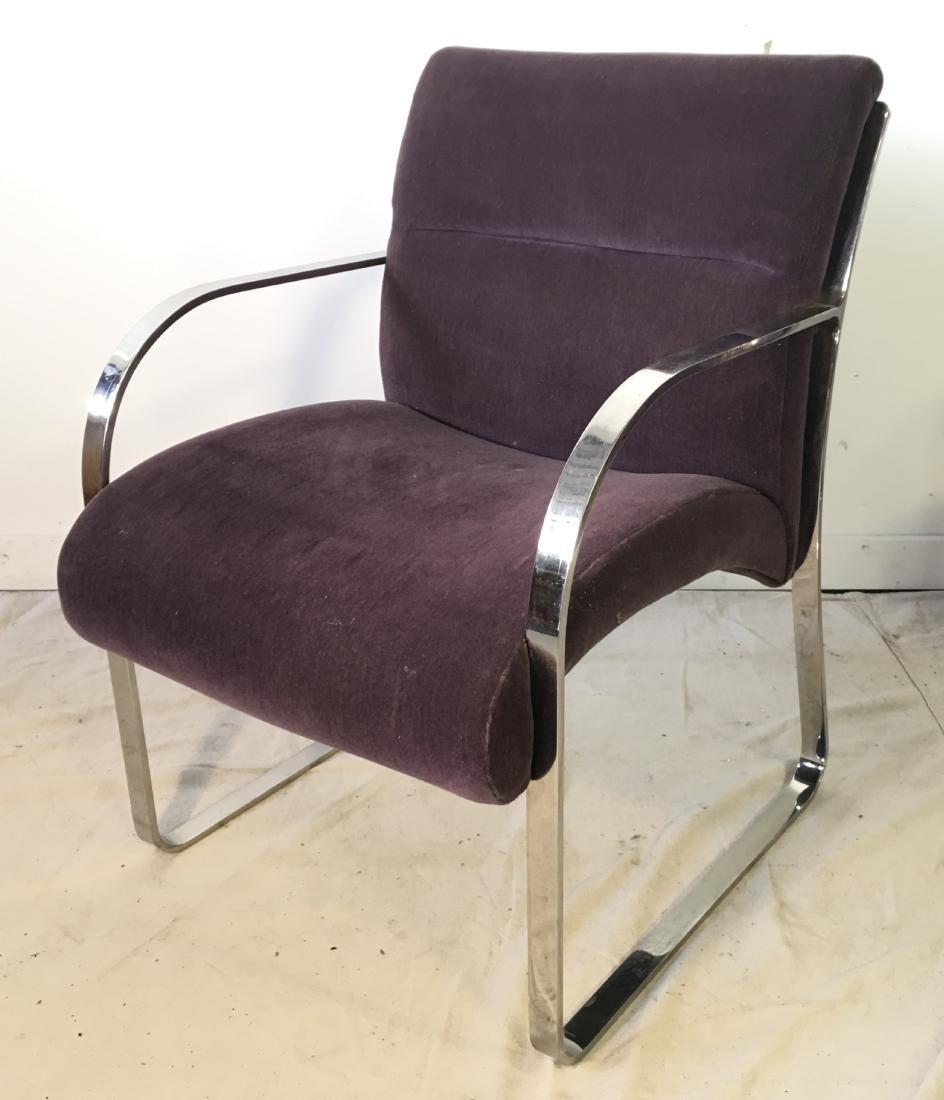 Pair Brueton Chrome Chairs in Mohair - 2