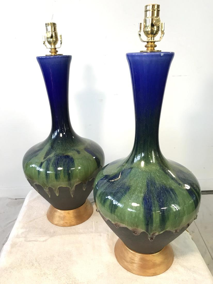 Pair Vintage Blue and Green Drip Pottery Lamps