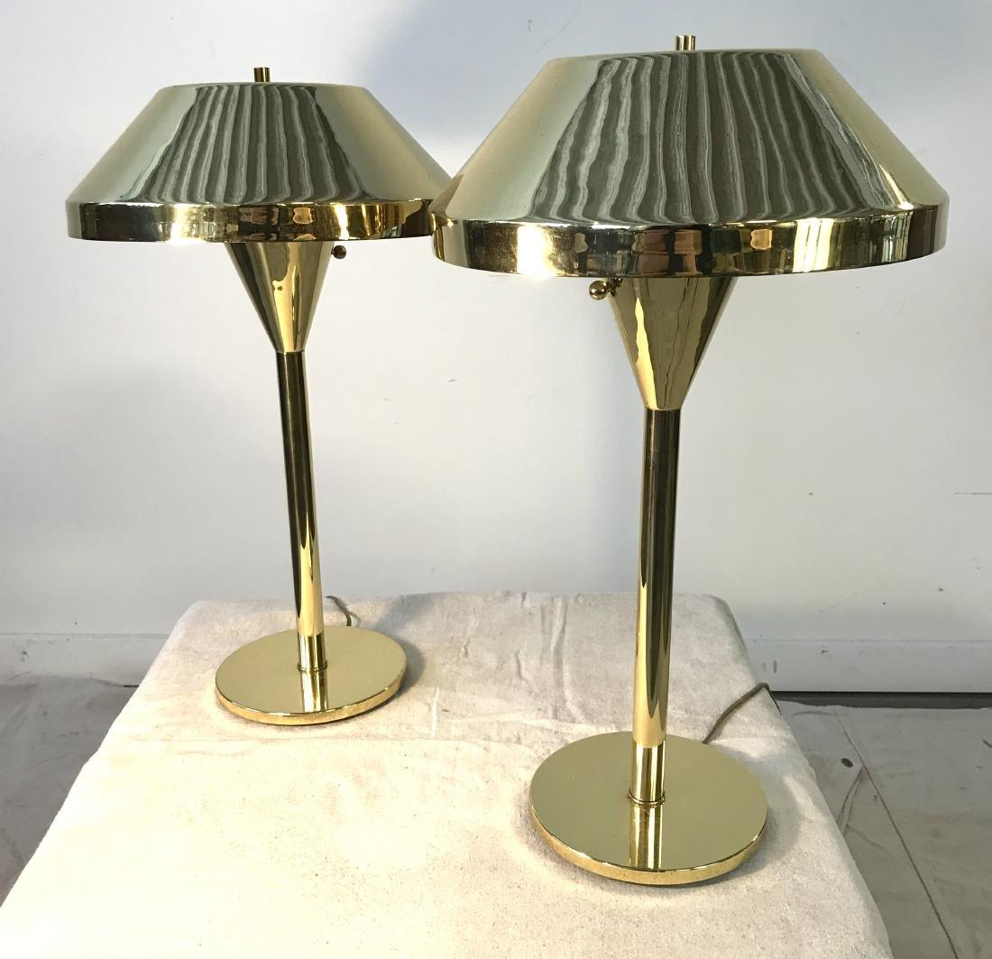 Pair Brass Mid Century Modern Lamps