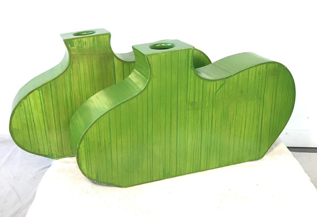 Pair Decorative Green Wooden Vases