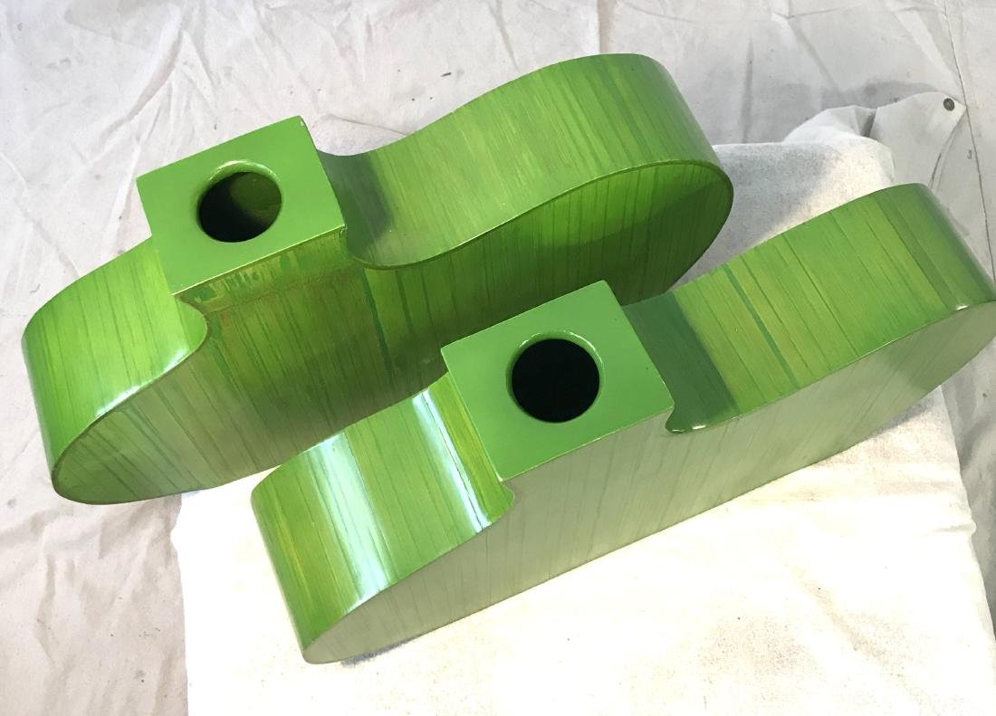 Pair Decorative Green Wooden Vases - 2