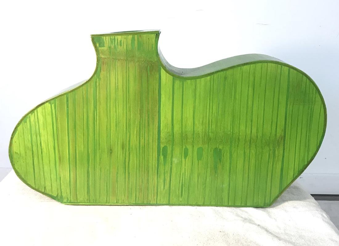 Pair Decorative Green Wooden Vases - 3