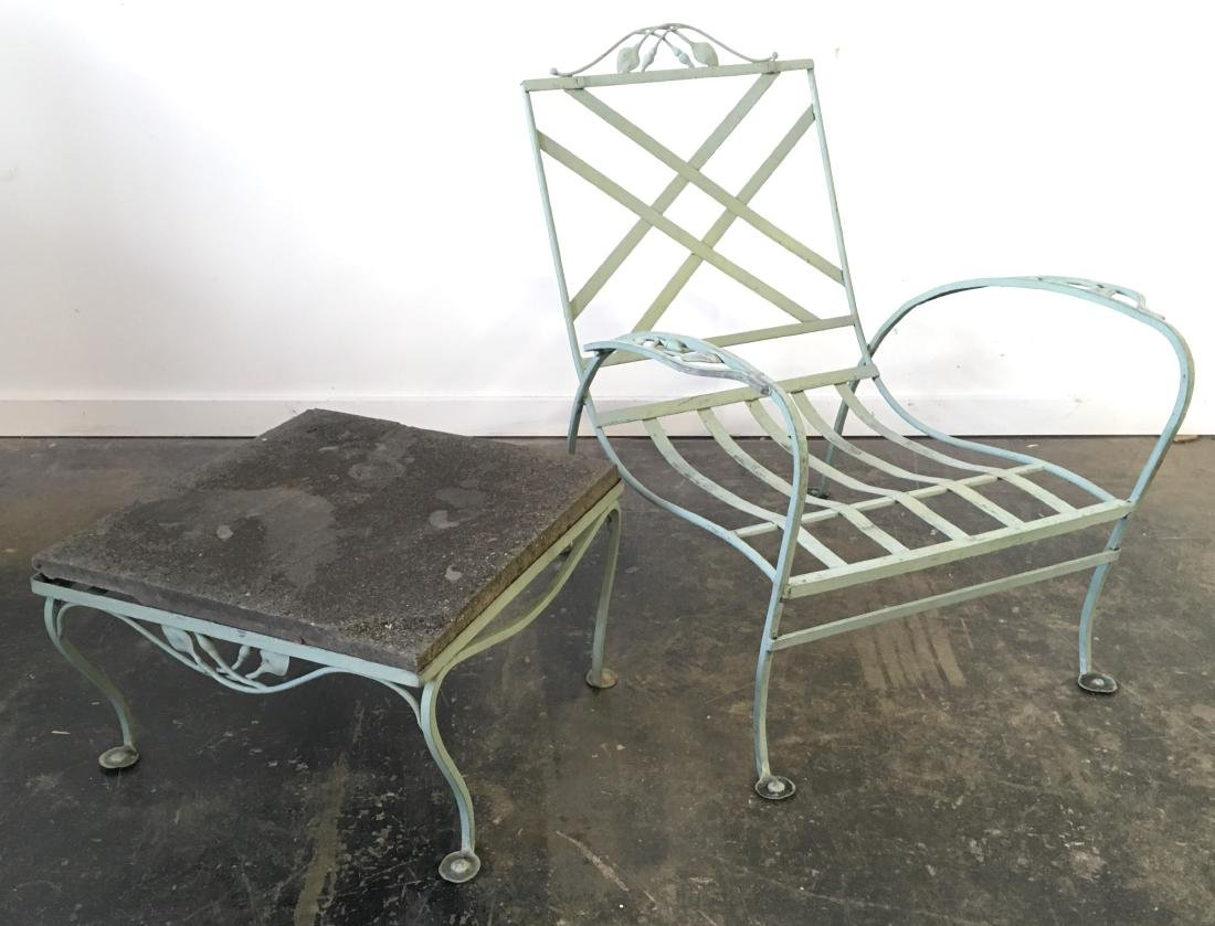 Salterini Iron Chair and Stone Top Table