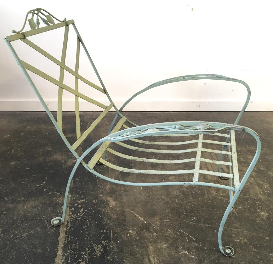 Salterini Iron Chair and Stone Top Table - 4