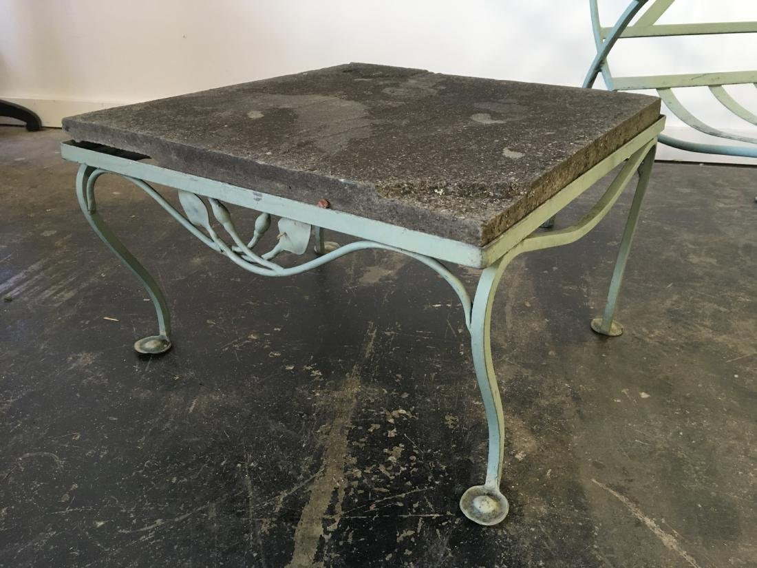 Salterini Iron Chair and Stone Top Table - 5