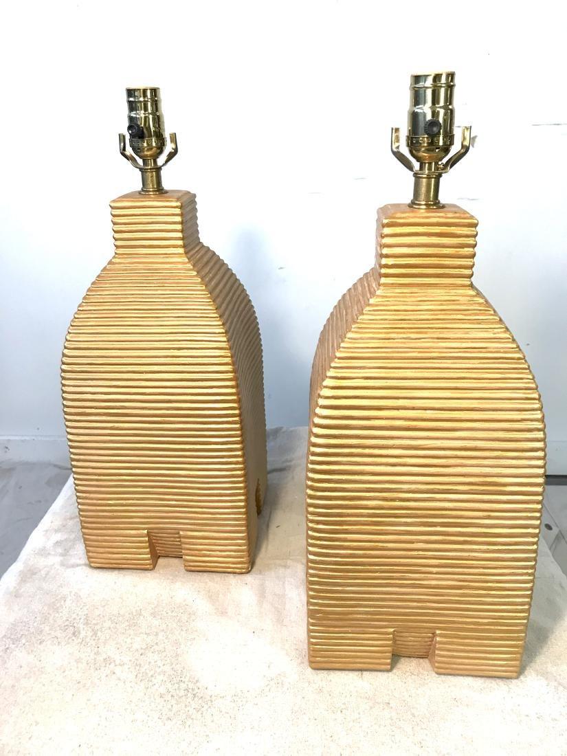 Pair Vintage Gold Beehive Lamps
