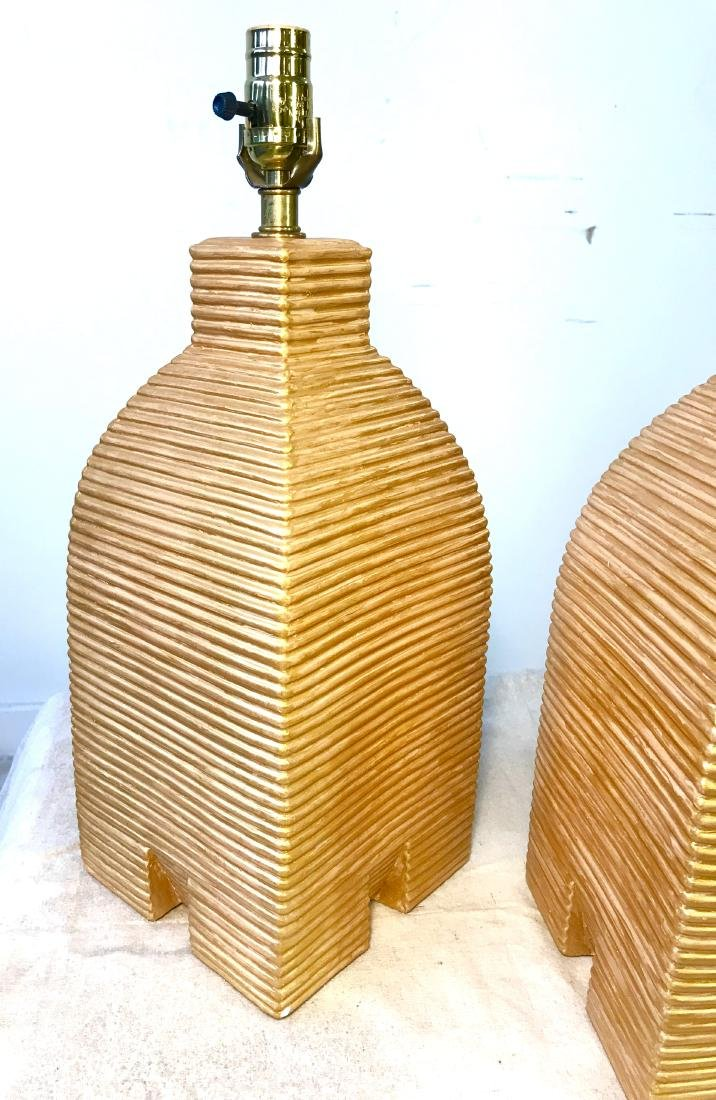 Pair Vintage Gold Beehive Lamps - 3