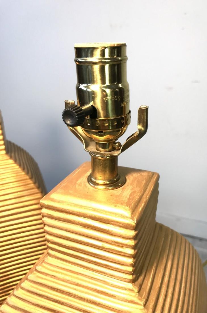 Pair Vintage Gold Beehive Lamps - 4