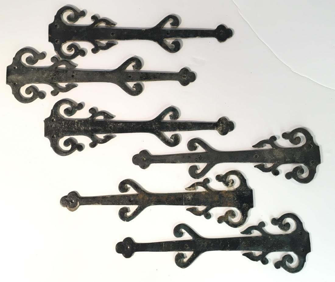 Set of Vintage Decorative Iron Strap Hinges