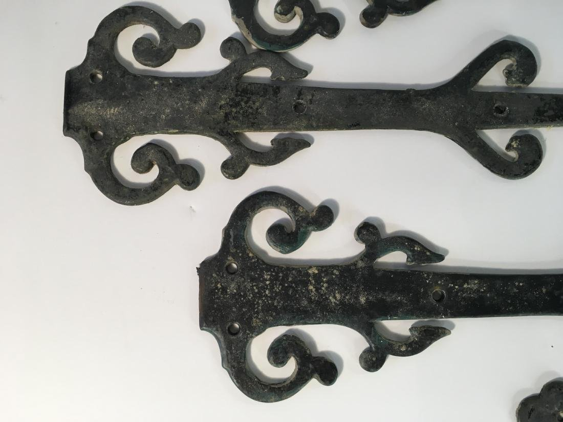 Set of Vintage Decorative Iron Strap Hinges - 3