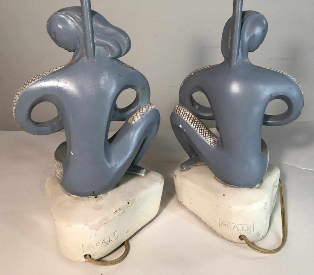 Pair FAIP Art Deco Musician Lamps - 2