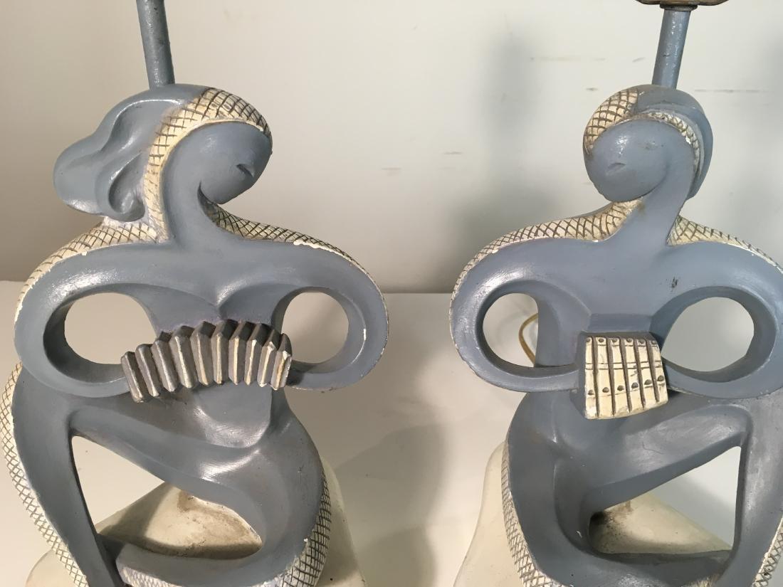 Pair FAIP Art Deco Musician Lamps - 3