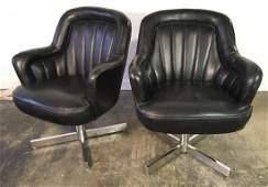 Pair Milo Baughman Swivel Chairs