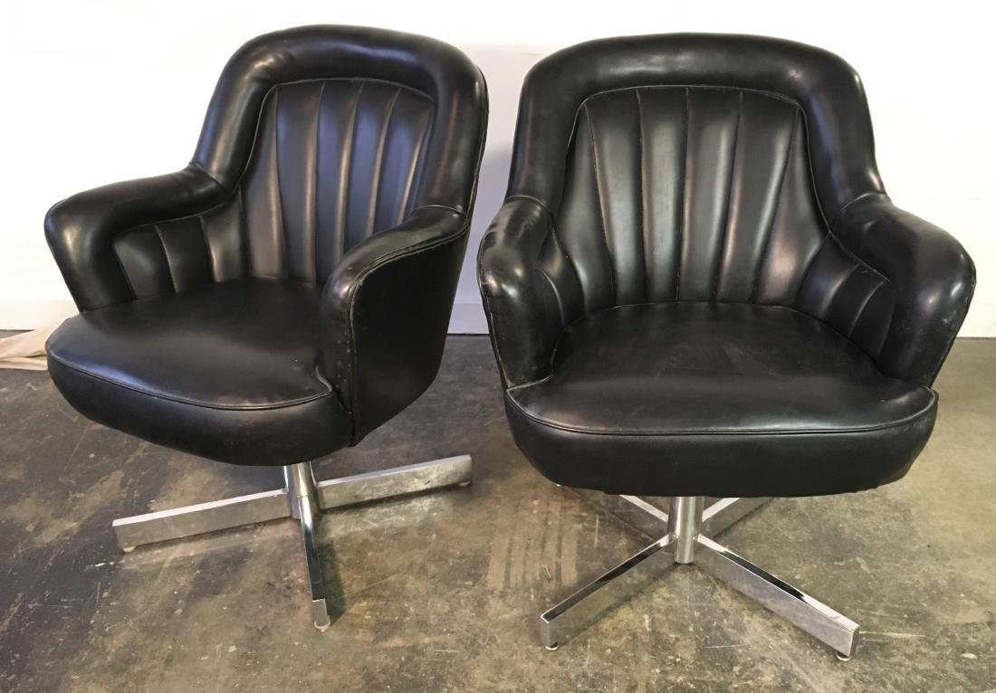 Pair Milo Baughman Swivel Chairs