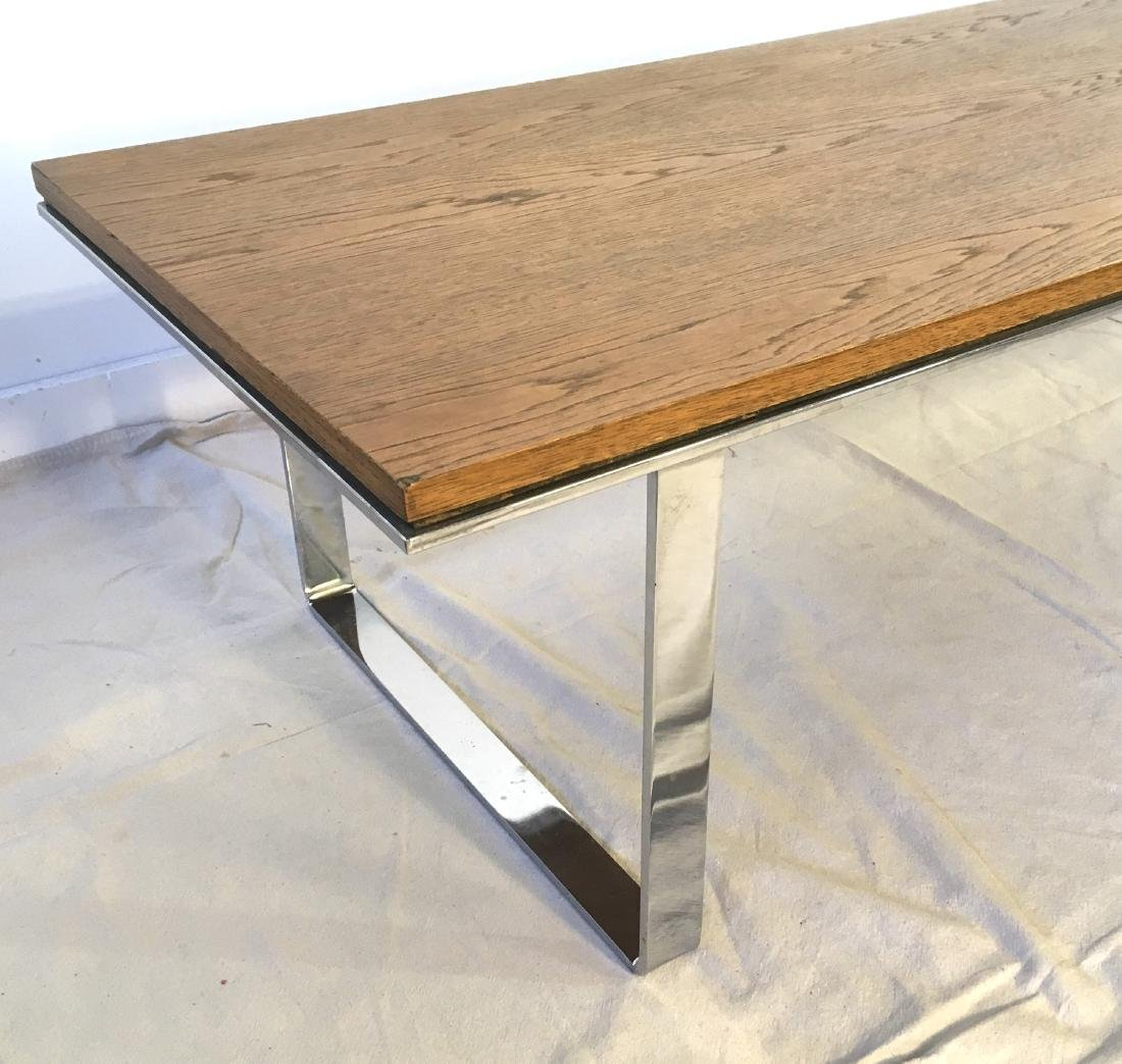 Flat Bar Chrome and Oak Coffee Table - 2